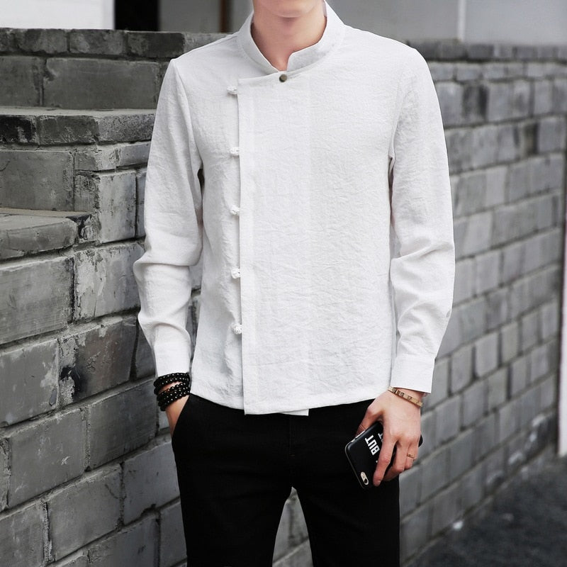 Chinese Tang Style Long Sleeves Black White Casual Men Shirts