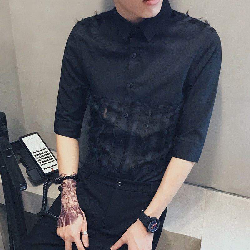 Fur Lace Patchwork Detail Dress Style Men Slim Fit Shirt