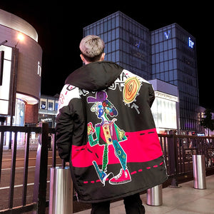 Hip Hop Graffiti Printing Oversized Style Men Long Loose Padded Jacket