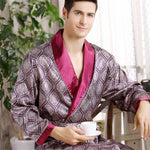 Mix Print Bathrobe Kimono Style Men Pajama