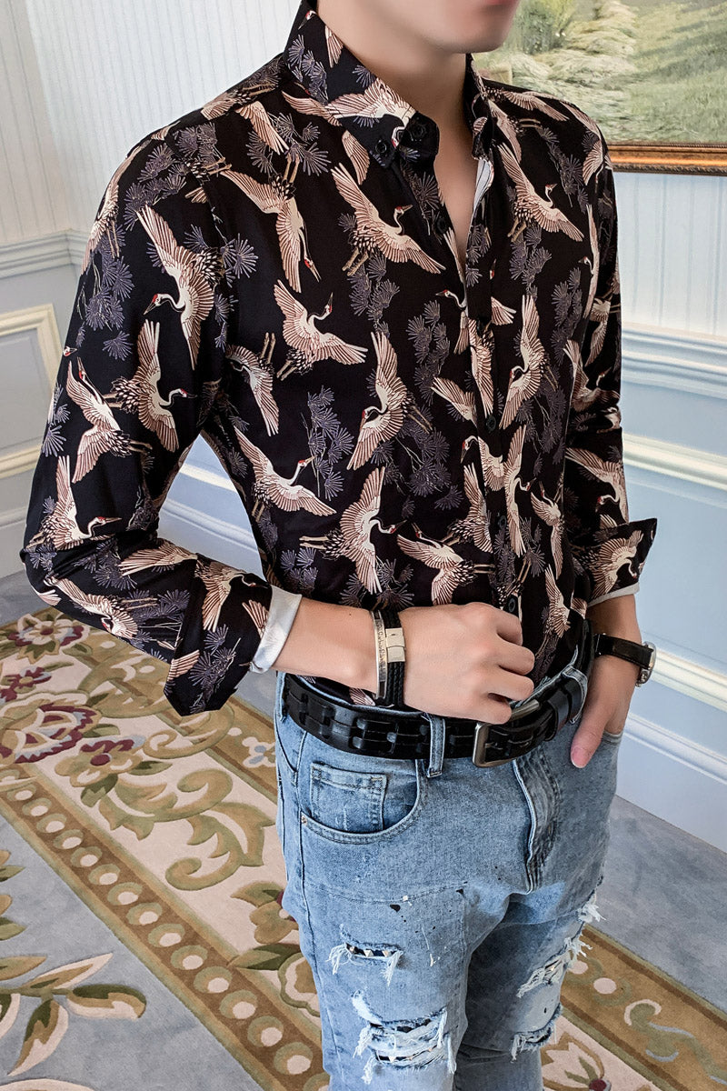 Hot Black with Heron Bird Print Casual Men Long Sleeves Shirts