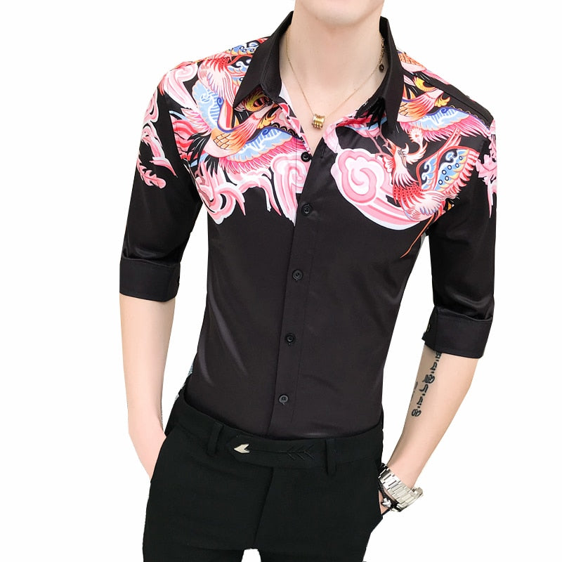 Casual Black with Pink Mist Print Men Slim Fit Shirt - FanFreakz