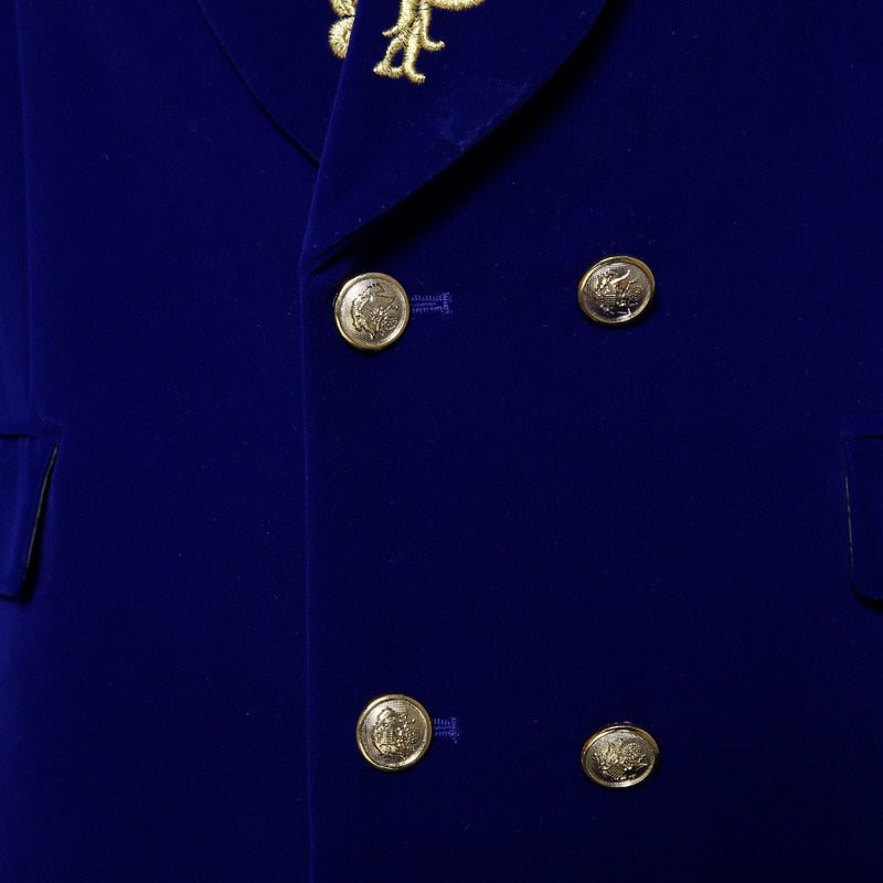 Velvet Royal Blue with Gold Touch Style Men Costume Set Blazer With Pant