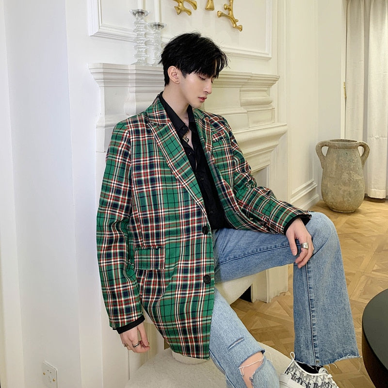 Men Green Plaid Combination Long Blazer