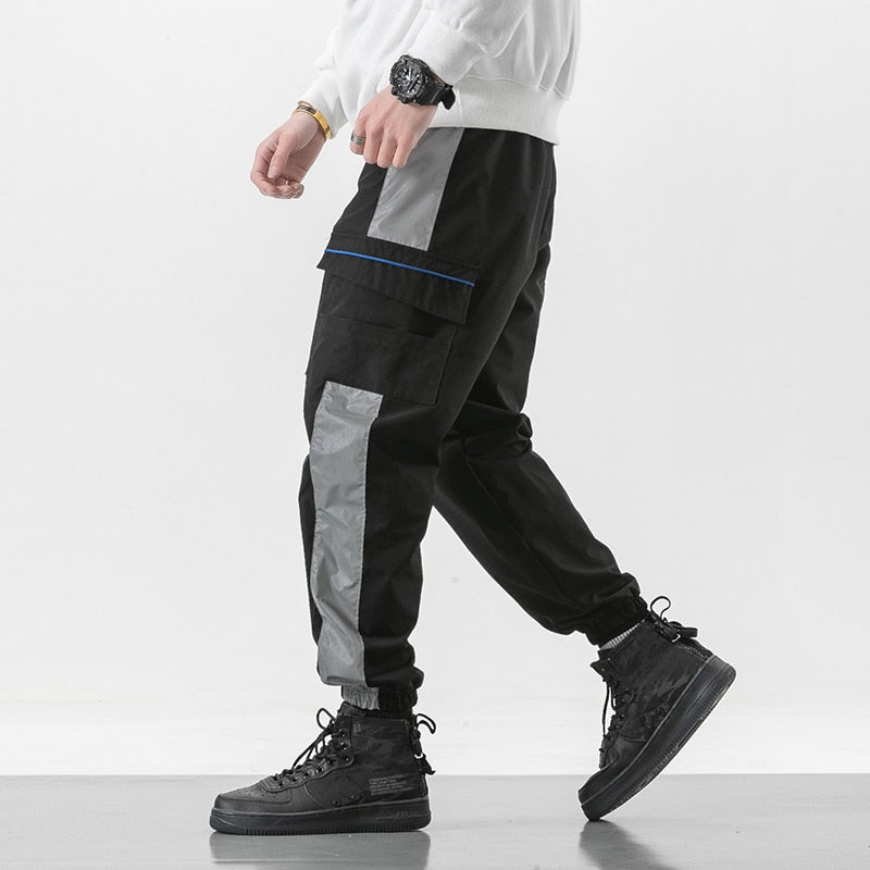 Japanese Style Drawstring Tactical Cargo Spliced Men Pants