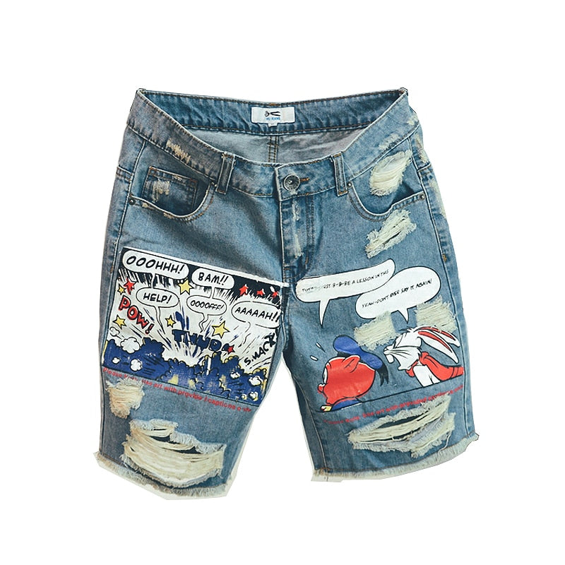 Ulzzang Points Pattern Knee Length Denim Men Shorts
