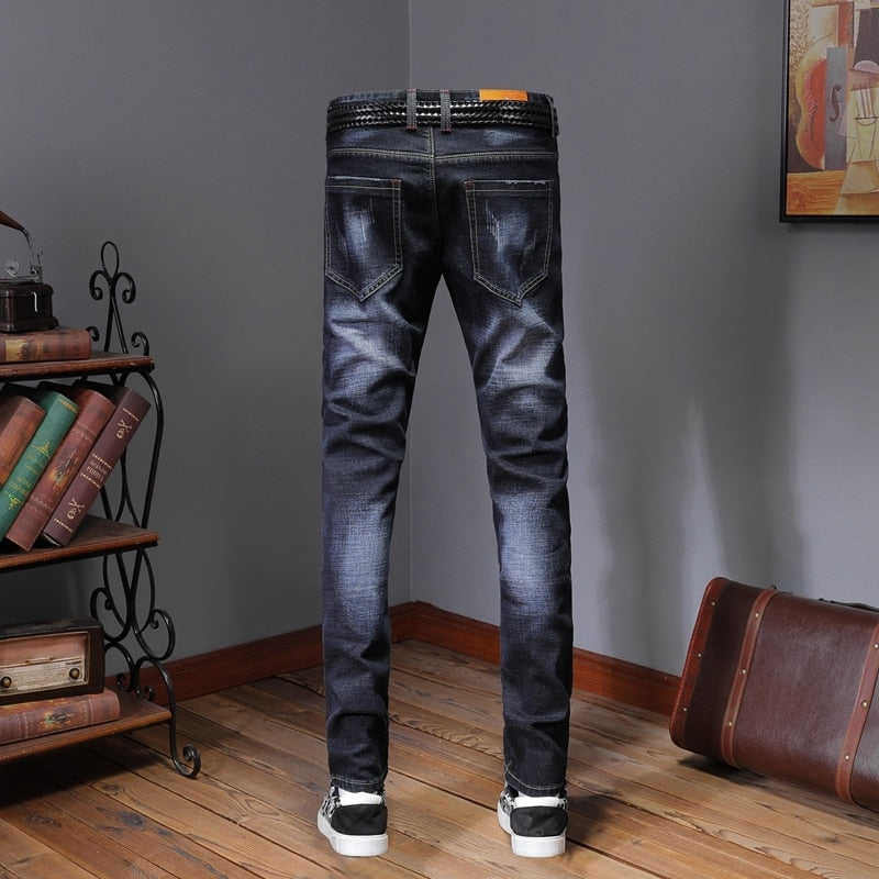 Designer Jeans Men's Patches Ripped Skinny Denim