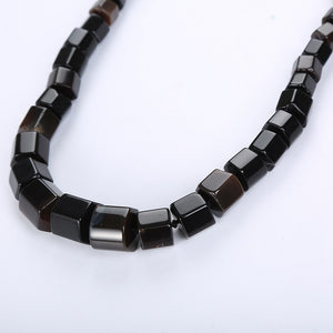 Black Agate Natural Jewelry Men Ethnic Necklace