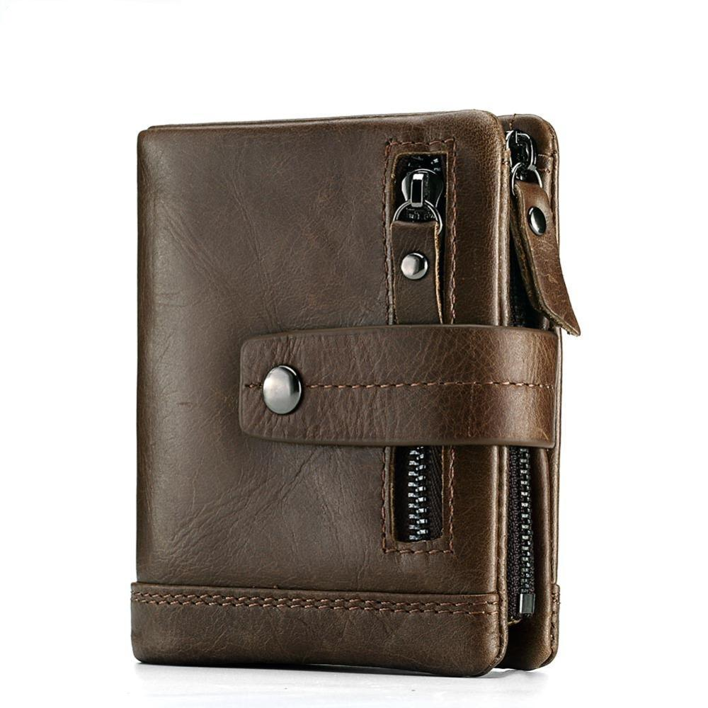 Strap Button Lock Minimalist Vintage Style RFID Wallet with Coin Pocket