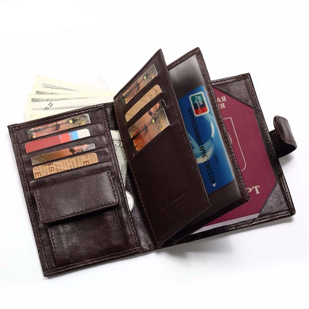 Travel Style Passport Holder Coin Purse Rfid Magic Men Leather Walet
