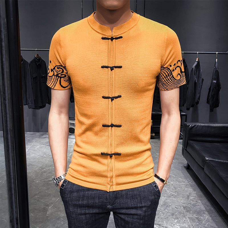 Oriental Pattern Chinese Button Detail Short Sleeve Casual Style Men T-Shirt
