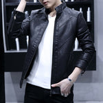 Plain Elegant Style Men PU Leather Jacket with Zipper Detail Sleeve