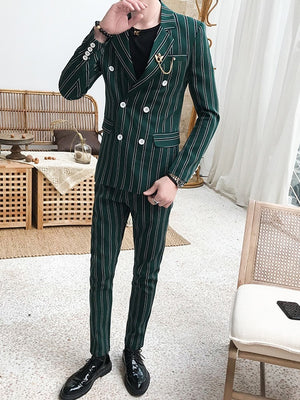 Green Double Breasted Stripe Pattern Men Suit