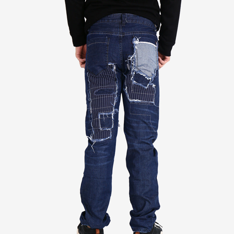 Ripped Embroidered Patchwork Denim Biker Style Men Jeans - FanFreakz