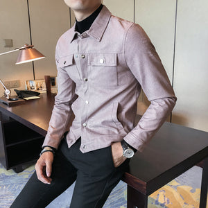Modern Casual Slim Fit Single Breasted Style Men Faux Leather Jacket