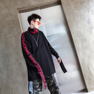 Hip Hop High Turtleneck Style Men Pullover Shirt with Patched Letter Sleeve