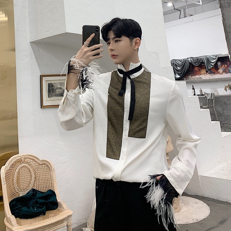 White Vintage with High Neck Tie and Tassel Wrist Detail Men Shirts