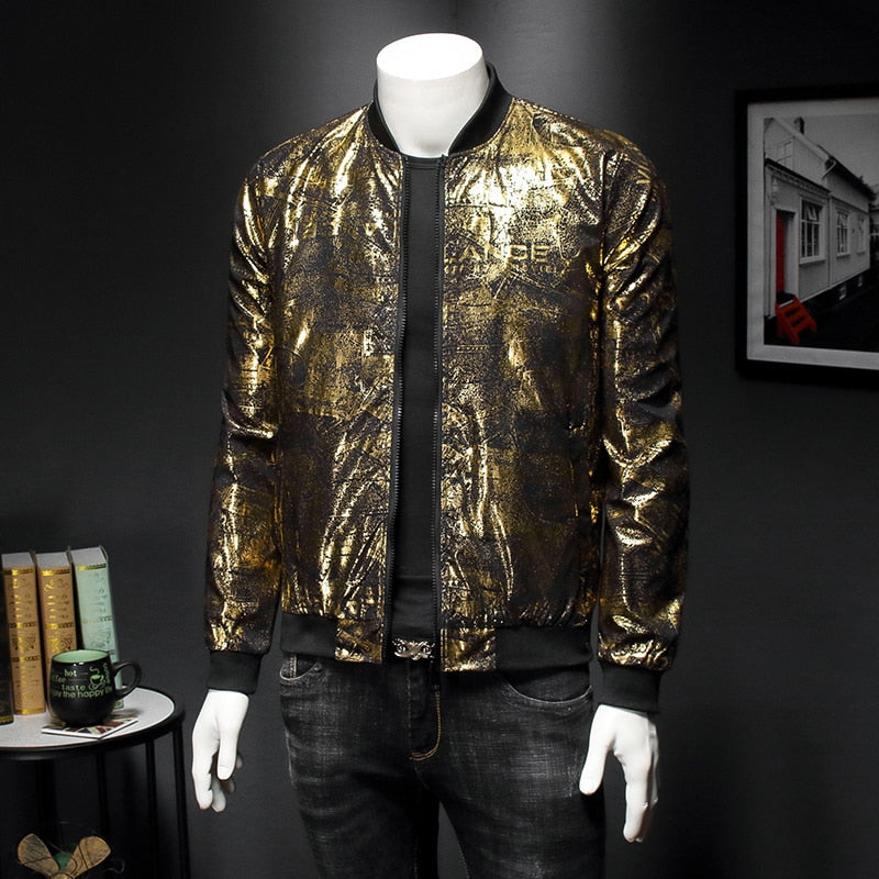 Luxury Black Gold Print Party Bomber Jacket