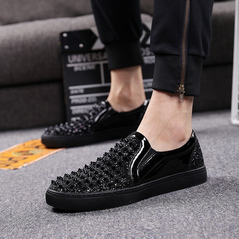 Loafers Black Diamond Rhinestones Spikes Casual Men Shoes
