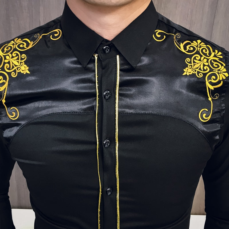 Chest Yellow Embroidered Men Slim Fit Long Sleeve Shirt - FanFreakz