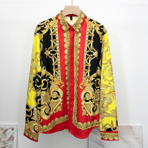 90s Look Vintage Prints Men Long Sleeve Shirt