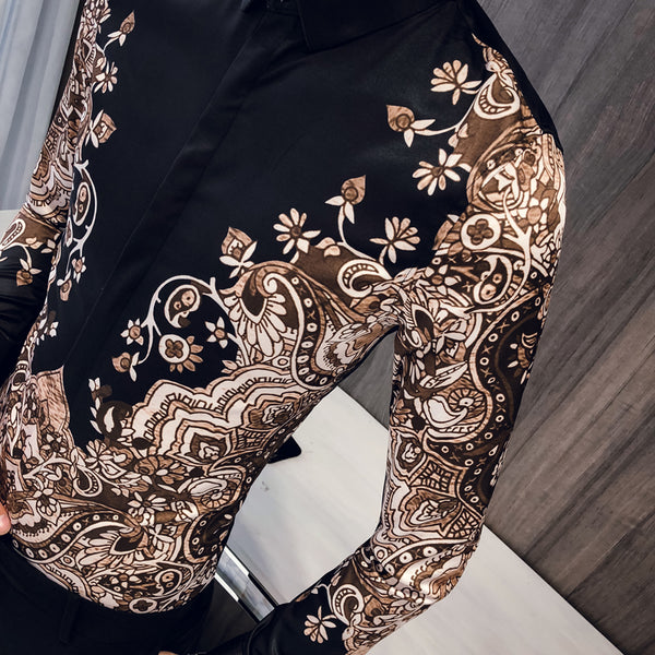 Luxury Batik Art Pattern Print Men Slim Fit Long Sleeves