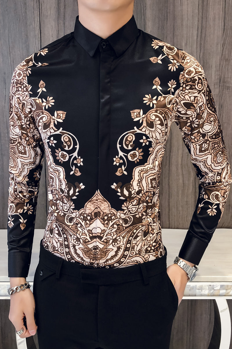 6b4d01a08f5d Luxury Batik Art Pattern Print Men Slim Fit Long Sleeves Shirt ...
