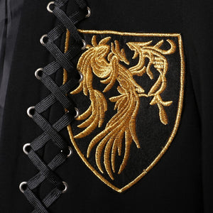 Gold Embroidery Chest Pocket with Cross Stitch Detail Men Blazer