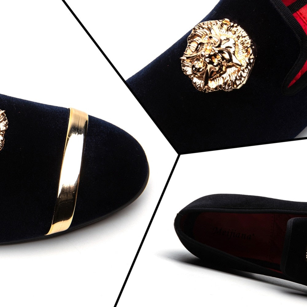 Animal Round Chain with Gold Stripe Men Loafers Shoes - FanFreakz