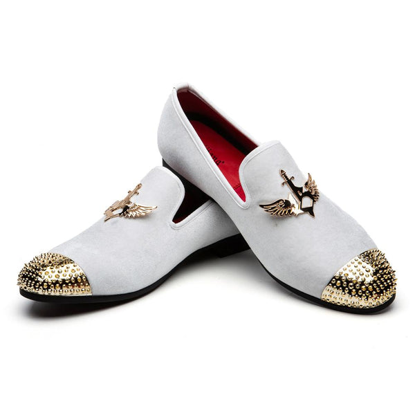 Golden Wing Shield Decorated Loafers