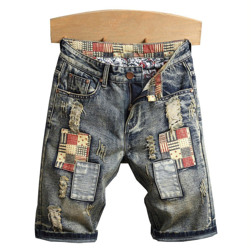 Vintage Ripped Denim With Patches Distressed Style Men Shorts