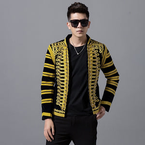 Black and Gold Court Style Men Dress Blazers for Stage Performer - FanFreakz