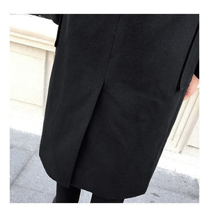 Minimal Elegant One Button Style Men Long Coat with Two Side Pockets Detail
