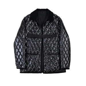 Black Casual with Diamond Stitch Parka Men Jacket