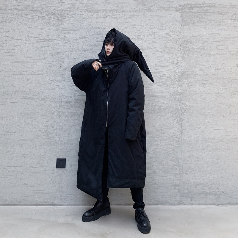 Gothic Long Asymmetry Japan Style Cotton Padded Hooded Men Coat