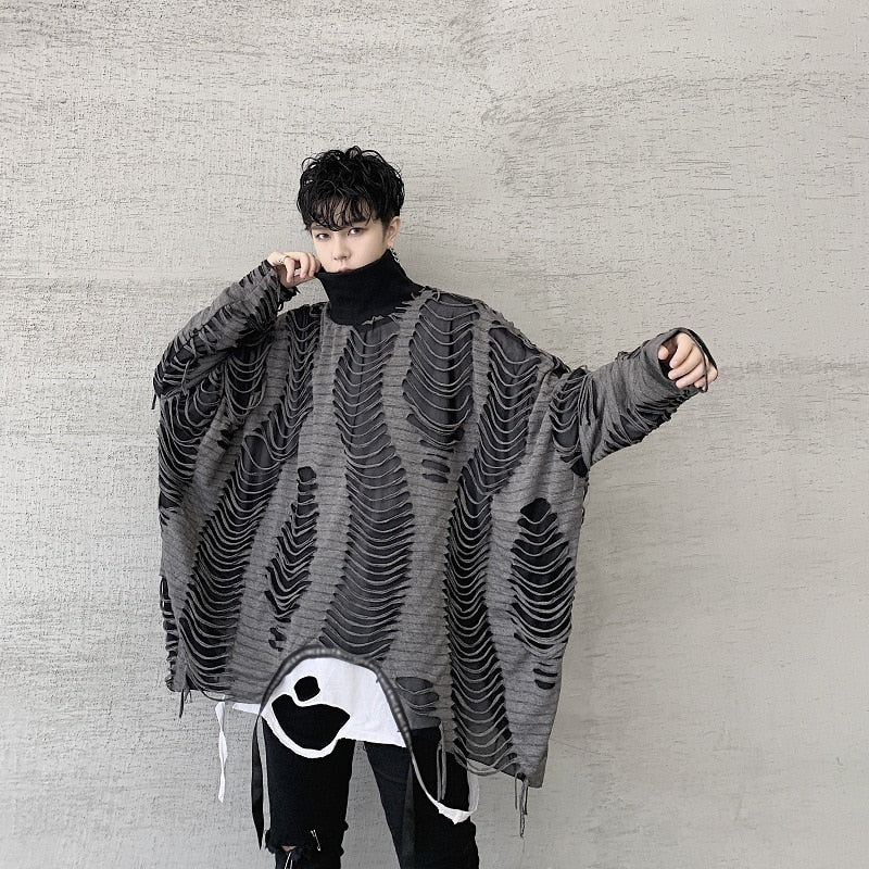 Oversize Double Layers Hollow Out Streetwear Loose Style Men Pullover