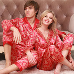 Red on Gold Pattern Men and Women Couple Pajama Sets