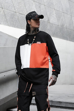 Long Sleeve Color Block Hip Hop Style Men T-Shirt
