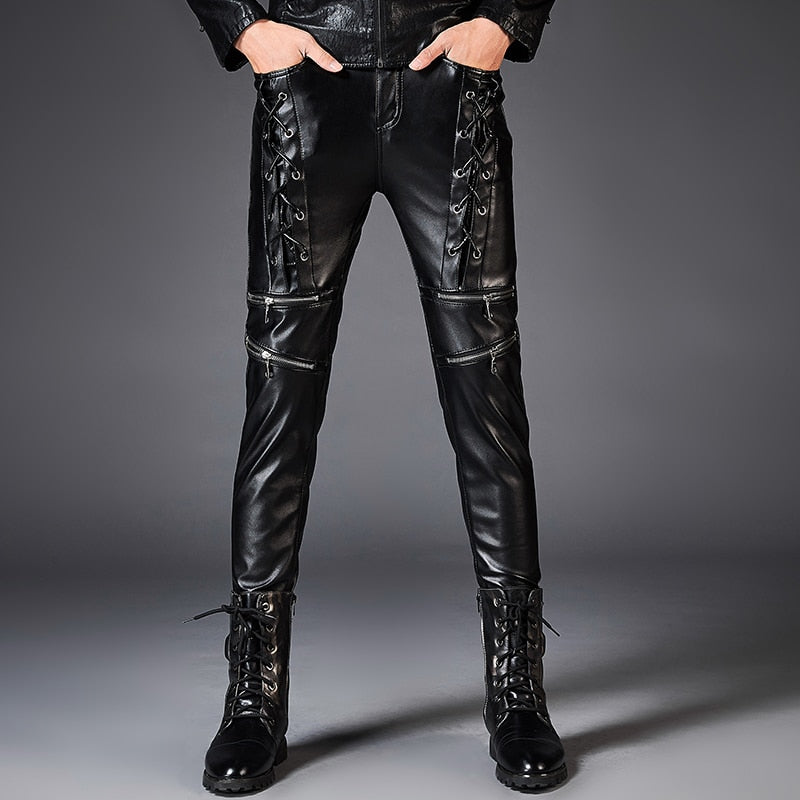 Dashing Leather Rope Zipper Biker Style Men Slim Fit PU Leather Pants