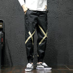 Criss Cross Knee Detail Streetwear Men Jogger Pants - FanFreakz
