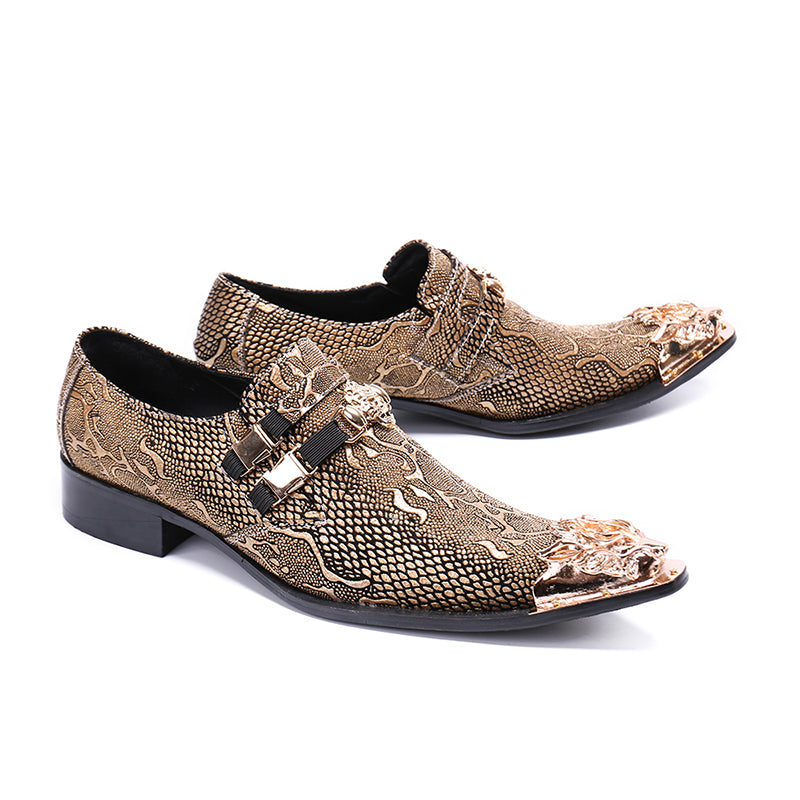 Double Clasped Men Metal Toe Leather Shoes