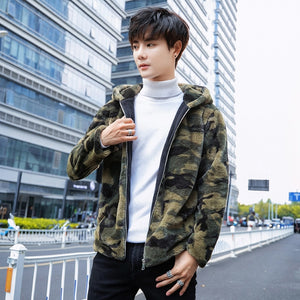 Thick Warm Camouflage Faux Fur Hooded Style Men Jacket