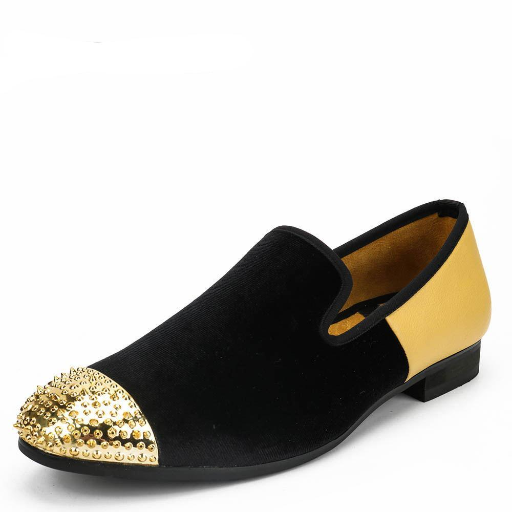 Mini Spike Toe Contrast Color Men Velvet Loafer Shoes