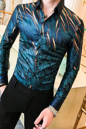 Casual Leaf Print Long Sleeve Slim Fit Men Shirts