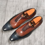 Men Brown Blue Double Color Formal Leather Shoes