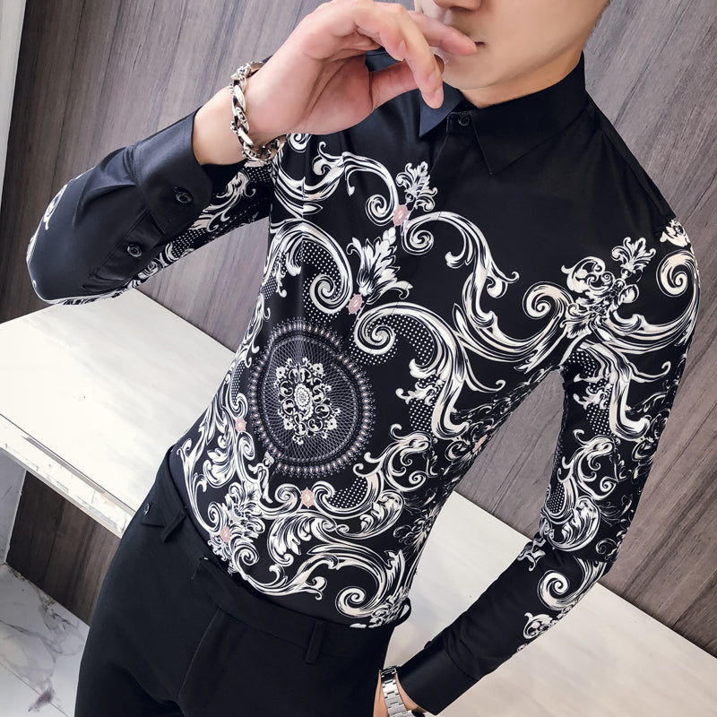 Contrast Royal Leafs Print Pattern Men Slim Fit Shirts - FanFreakz