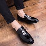 Owl and Lafayette Patch Embroidery Patent Leather Men Shoes