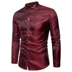 Paisley Disguised Gleam Style Men Long Sleeves Shirt