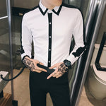 Monochrome Style with Casual Clean and Contrast Stripe Design Men Shirts