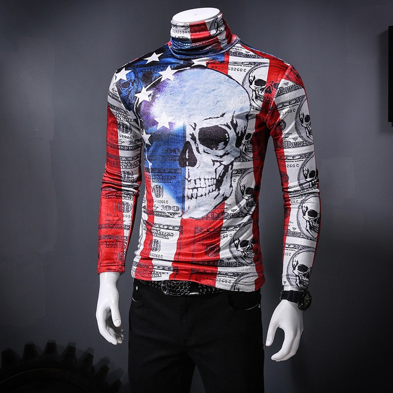 Big Skull Bold Painting Print Men Pullover Shirt - FanFreakz